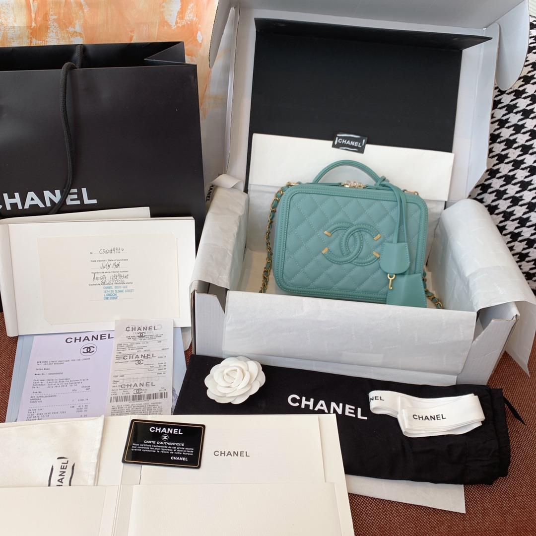 Chanel 香奈儿 化妆包 21cm 原厂皮小鱼子酱 薄荷绿