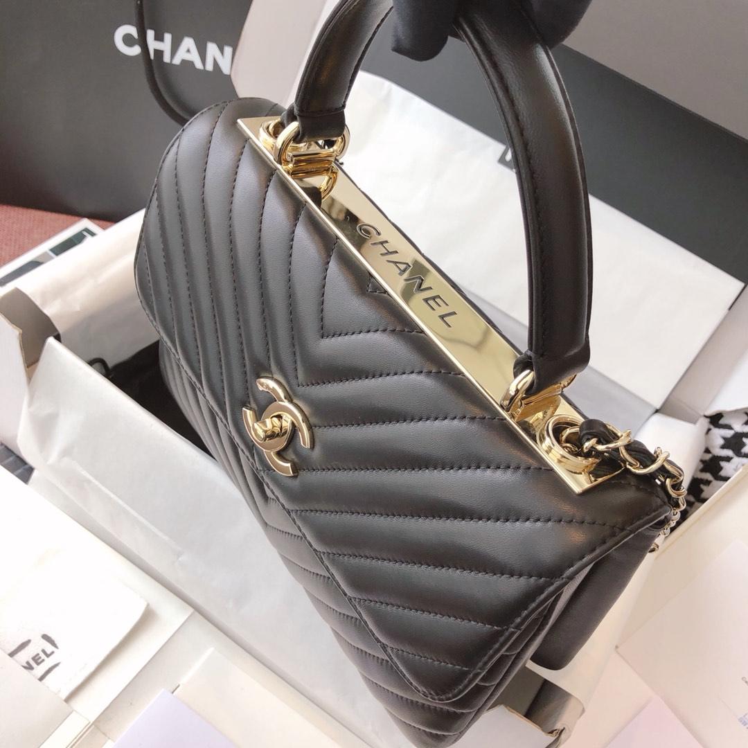 Chanel 香奈儿 TrendyCC 小羊皮 黑色V纹 25cm 香槟金 现货