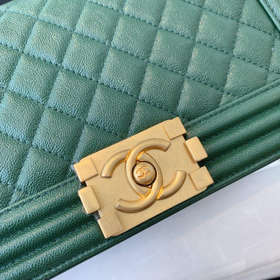 香奈儿 Leboy 顶级代购版本 25cm 原厂蚂蚁纹 墨绿色 特殊渠道原厂皮