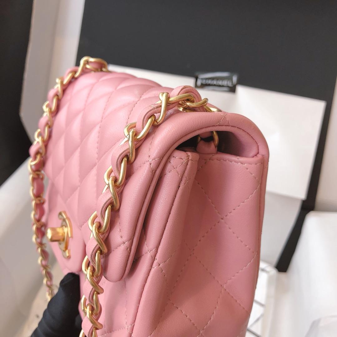 Chanel 香奈儿 真品级 原厂bodinjoyeux羔羊皮 CF17cm 樱花粉 磨砂金扣