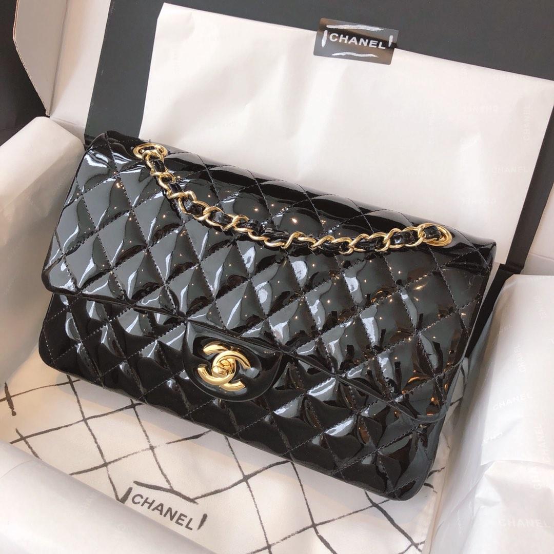 Chanel 香奈儿 真品级 原厂漆皮 Classic Flap 代购版本 25cm 黑色 金扣