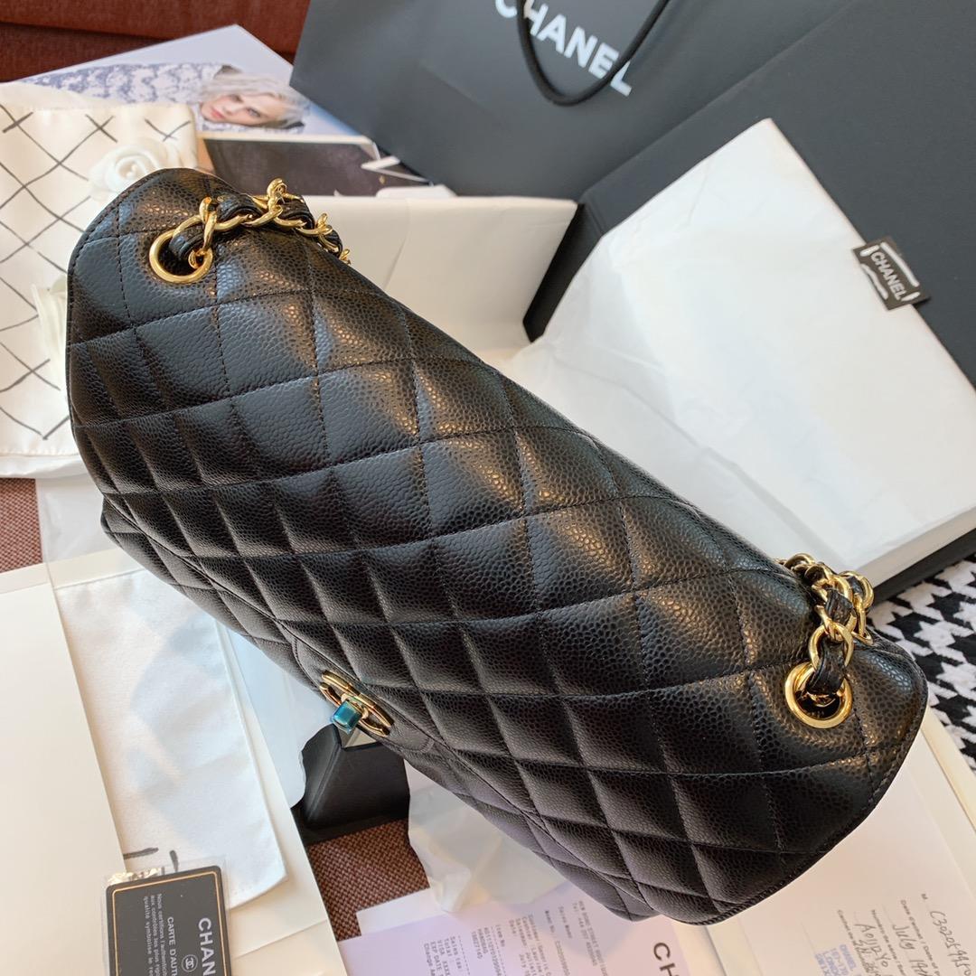 Chanel 香奈儿 黑色 金扣 CF30cm 法国原厂Haas球纹鱼子酱牛皮
