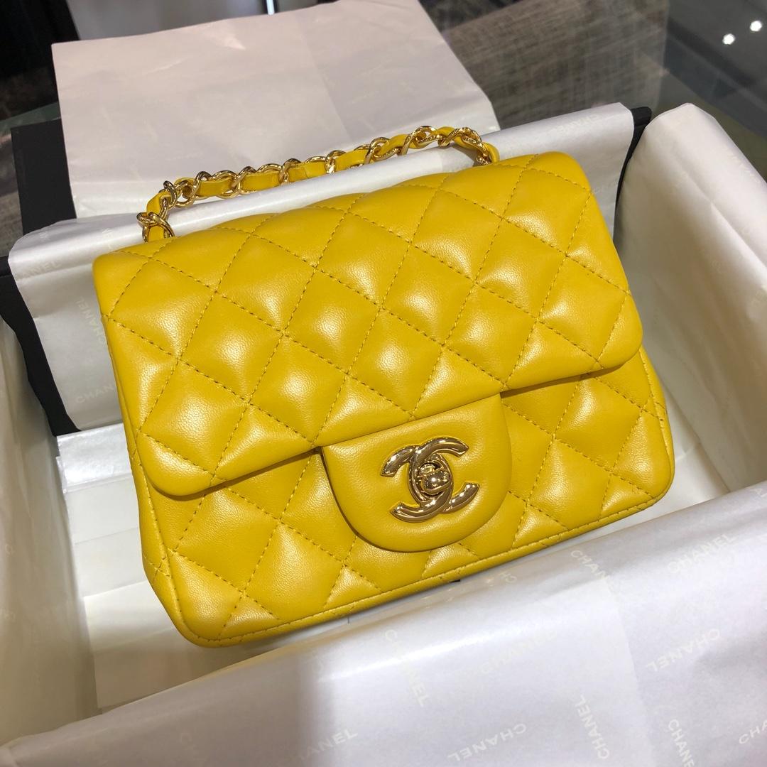Chanel 香奈儿CF~方胖子~进口小羊皮~芒果黄金扣