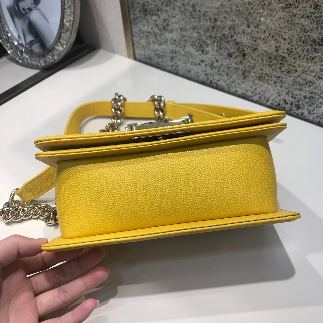 Chanel 香奈儿  Leboy 代购版本 20cm~进口小鱼子酱~芒果黄~浅金扣