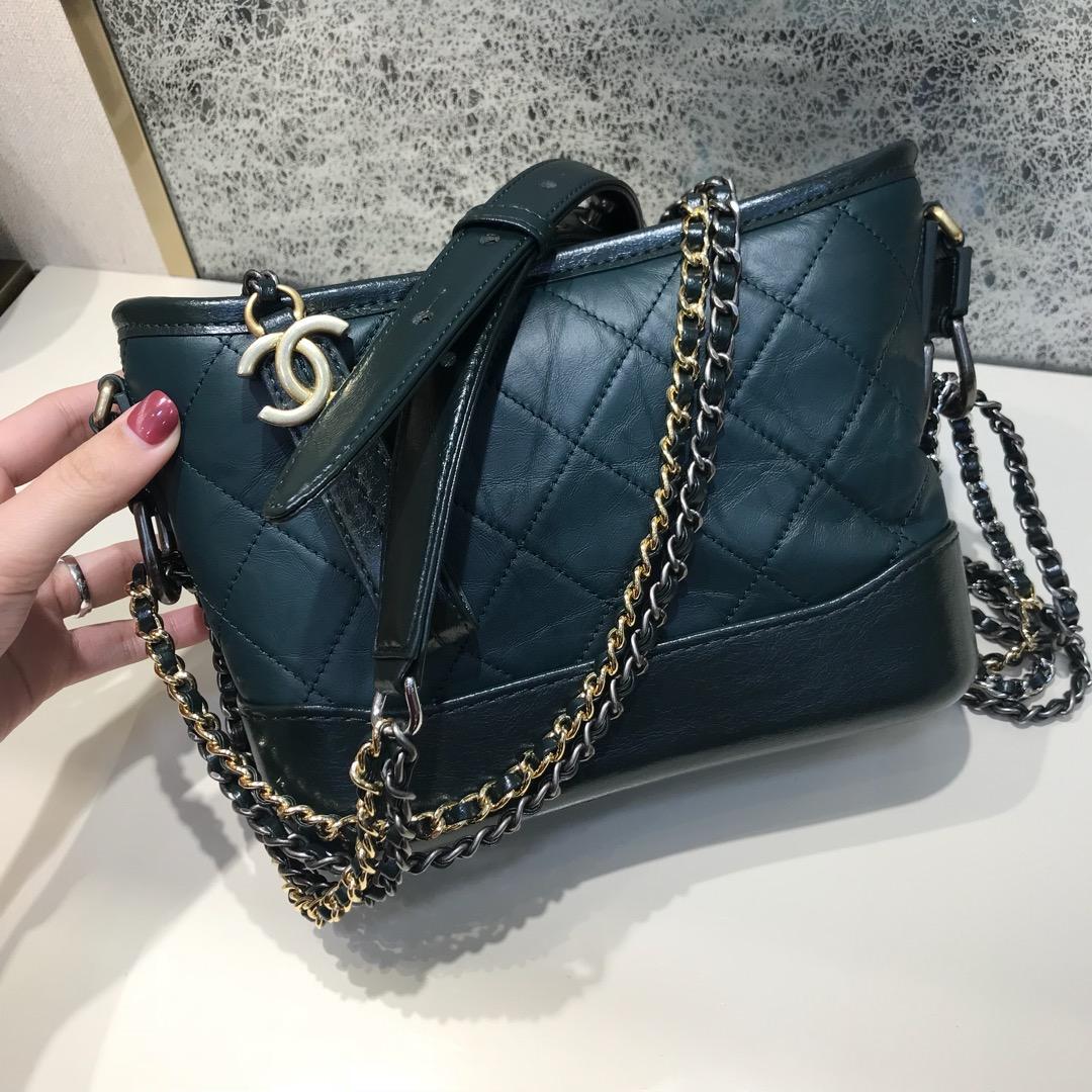 Chanel 香奈儿 Gabrielle 顶级代购版本 菱格纹 20cm~原厂树膏皮~墨绿色