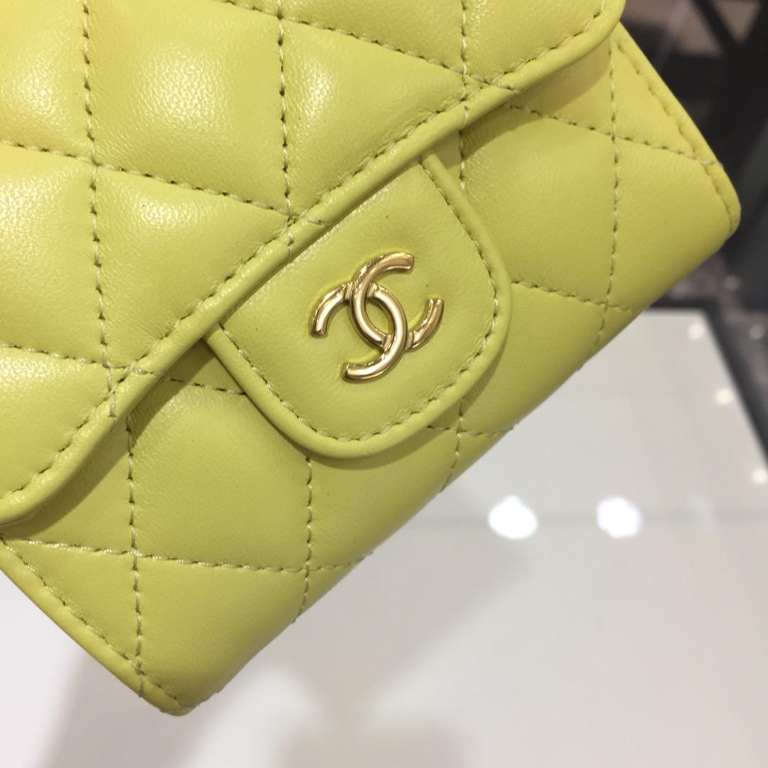 Chanel 香奈儿《三折小钱包》 进口小羊皮~柠檬黄金扣