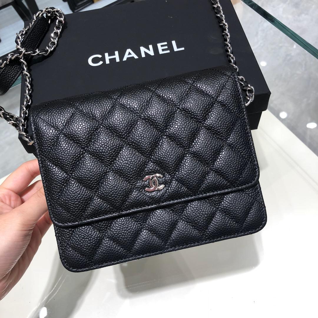 Chanel 香奈儿 WOC 17cm 进口鱼子酱 黑色 银扣