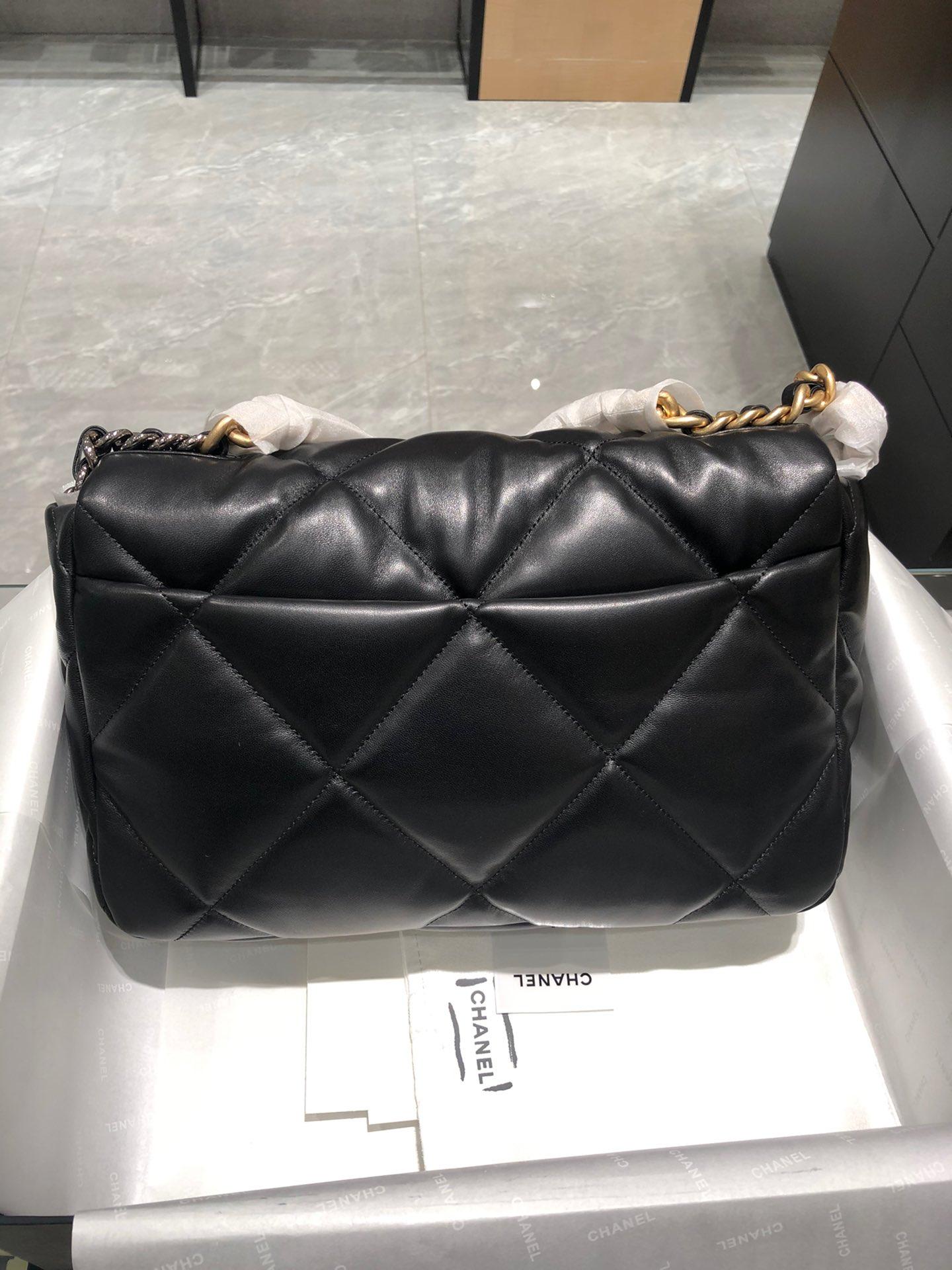 正品级 法国进口小羊皮Chanel2019秋冬新季系列 宽格纹粗链条翻盖包 全套包装