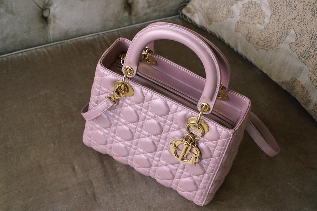 Dior 迪奥 戴妃包 Lady Dior 五格 24cm 羊皮 珠光粉 金扣