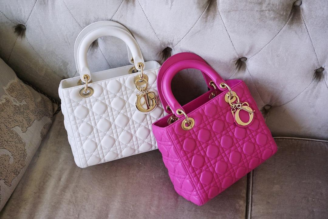 Dior 迪奥 戴妃包 Lady Dior 五格 24cm 羊皮 白色 天方夜谭紫 金扣