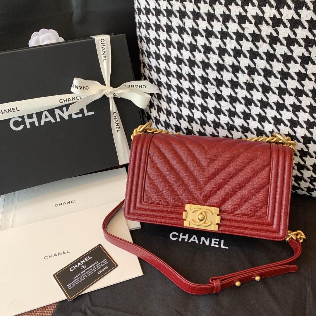 Chanel 法国原厂Haas小球纹鱼子酱牛皮 leboy 经典V格 25cm 枣红色