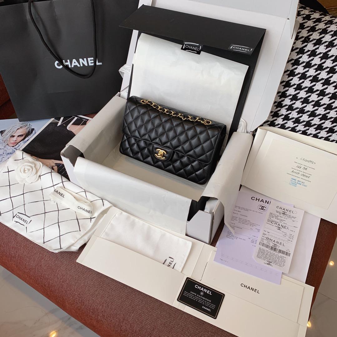 【正品级】黑色 金扣 Chanel CF 法国原厂Haas球纹鱼子酱牛皮 25cm 原厂皮