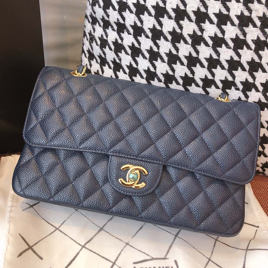 【正品级】海军蓝 金扣 Chanel CF 法国原厂Haas球纹鱼子酱牛皮 25cm 原厂皮