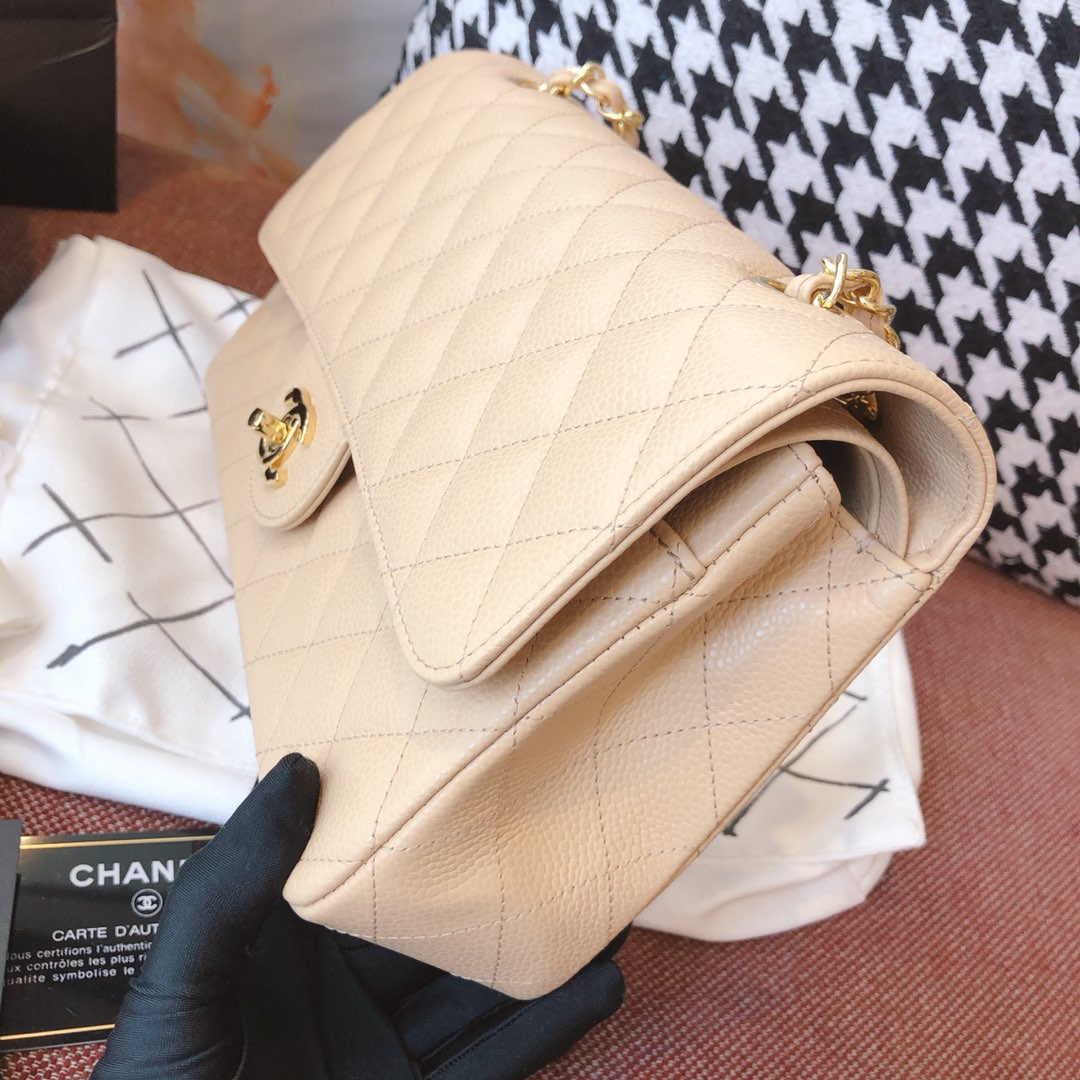 【正品级】杏色 金扣 Chanel CF 法国原厂Haas小球纹小鱼子酱牛皮 25cm