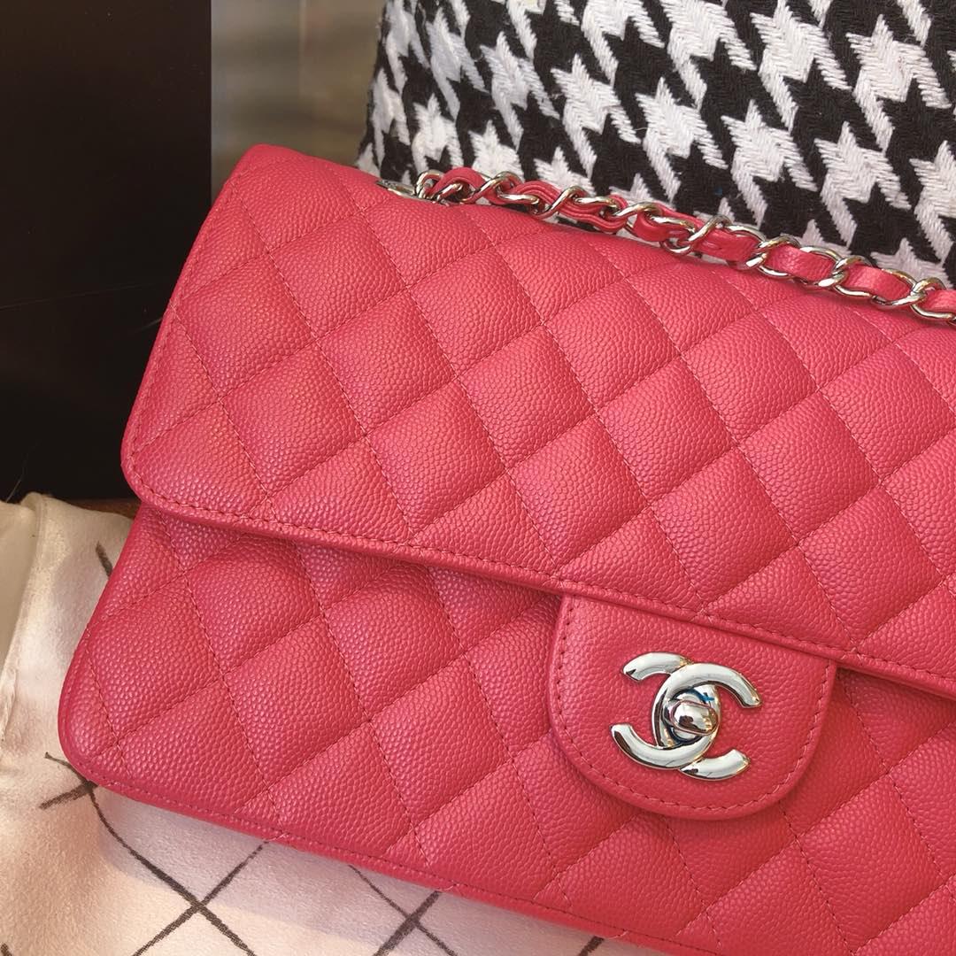【正品级】西瓜红 银扣 Chanel CF 法国原厂Haas小球纹小鱼子酱牛皮 25cm 车边款