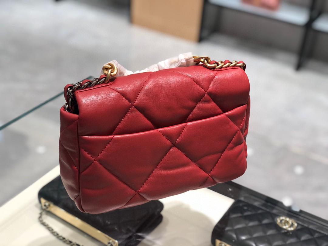 【真品级】~法国进口小羊皮Chanel2019秋冬新季系列宽格纹粗链条翻盖包16*26*9cm全套包装红色