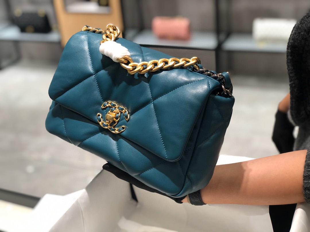 法国进口小羊皮Chanel2019秋冬新季系列宽格纹粗链条翻盖包 16*26*9cm全套包装
