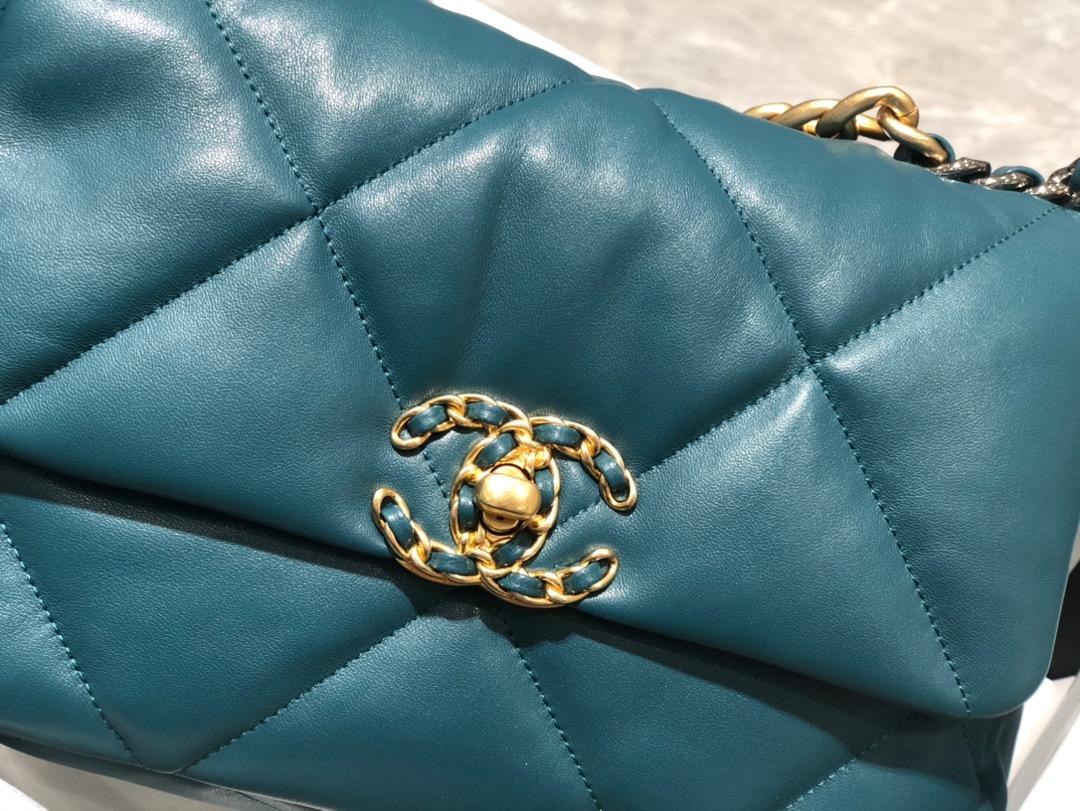 香奈儿香港官网【真品级】 法国进口小羊皮Chanel2019秋冬新季系列 宽格纹粗链条翻盖包 16*26*9cm 全套包装 蓝色