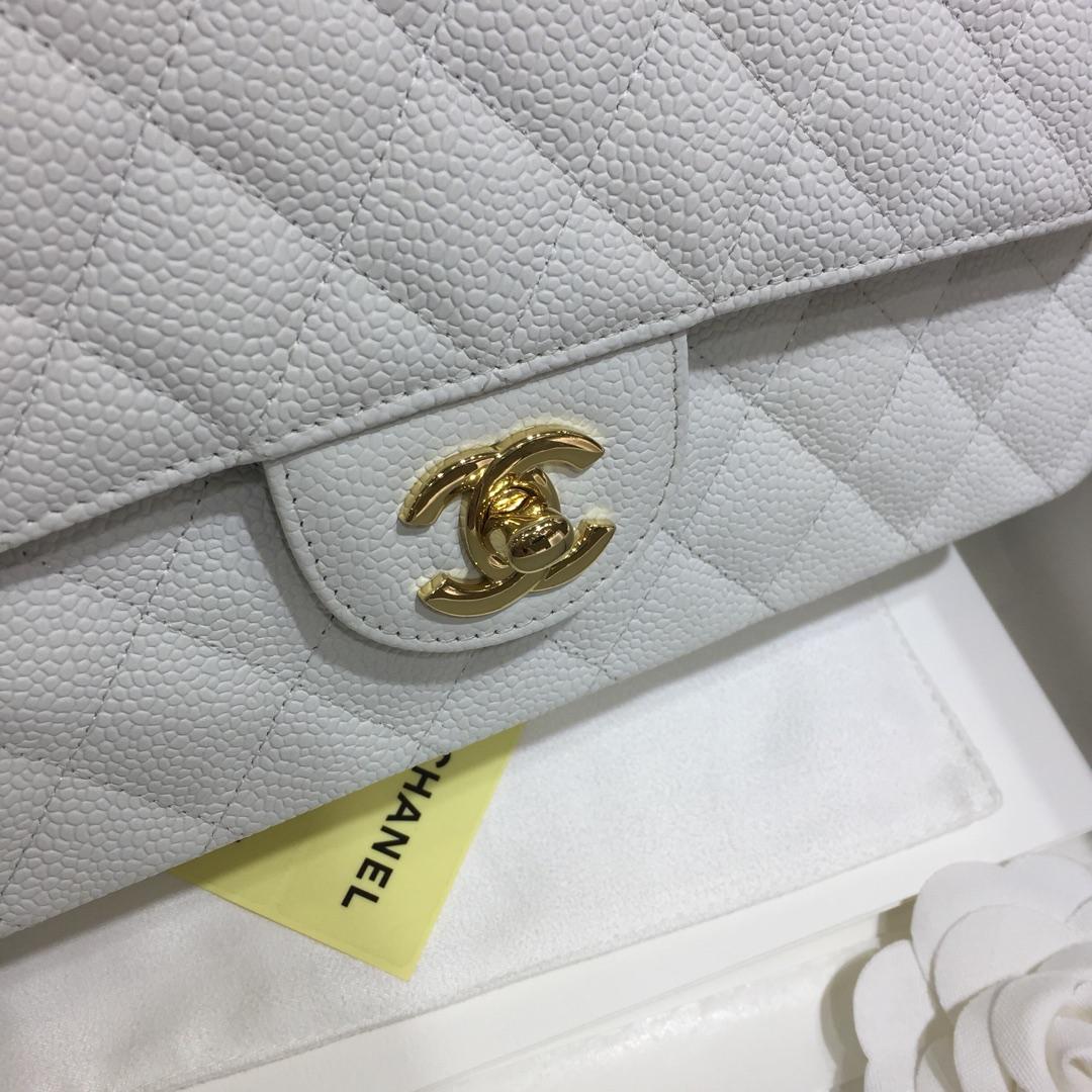 小香官网《Classic Flap》代购版本 25cm~进口鱼子酱~白色~金扣