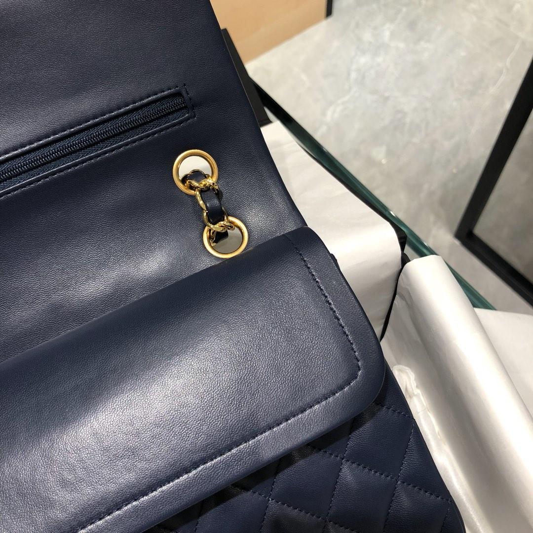 香奈儿官网【真品级】原厂《Classic Flap》代购版本 25cm~原厂小羊皮~宝蓝~金扣